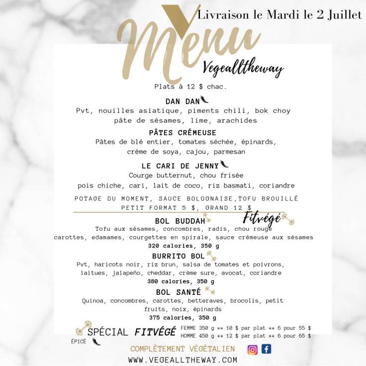menu 26 Juin