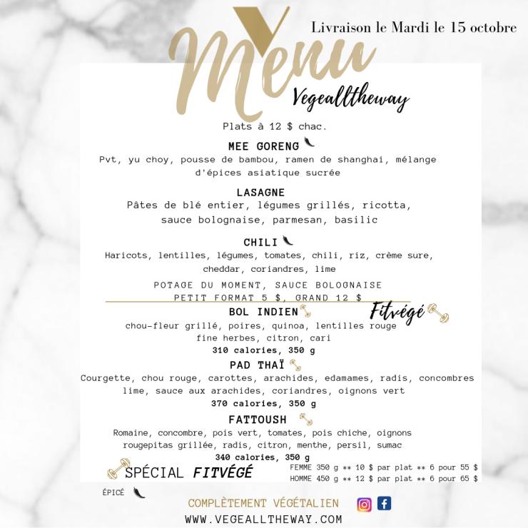 menu 10 Octobre